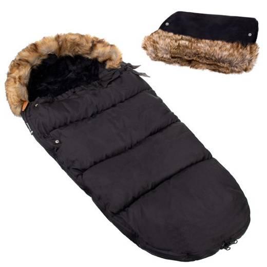 SPRINGOS Fusak Luxury s kožušinou 4v1 + Rukávnik na kočík s kožušinou - Čierny