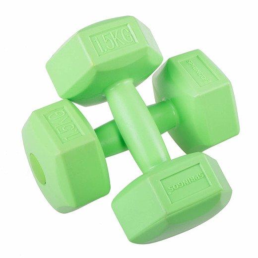 SPRINGOS Jednoručné činky 1,5kg zelené - 2ks