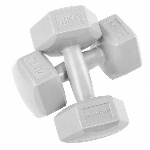 SPRINGOS Jednoručné činky 4kg sivé- 2ks
