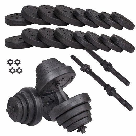 SPRINGOS Jednoručné činky nakladacie s kotúčmi čierne - 40kg