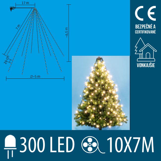 Vianočná LED svetelná pyramída vonkajšia - 10 ks reťazcov po 30 ks LED - 6,5m - Teplá biela