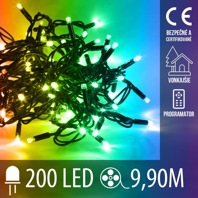 Vianočná LED svetelná reťaz vonkajšia + programy - 200LED - 9,90M Multicolour
